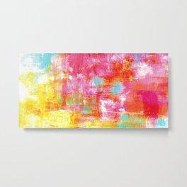 OFF THE GRID 2 Colorful Pink Pastel Neon Abstract Watercolor Acrylic Textural Art Painting Rainbow Metal Print
