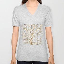 Modern Gold Tree Silhouette Minimal White Design Unisex V-Neck