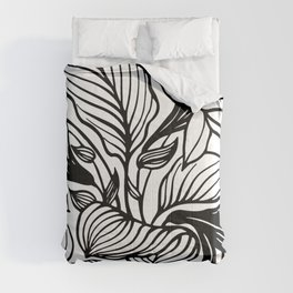 White And Black Floral Minimalist Comforters