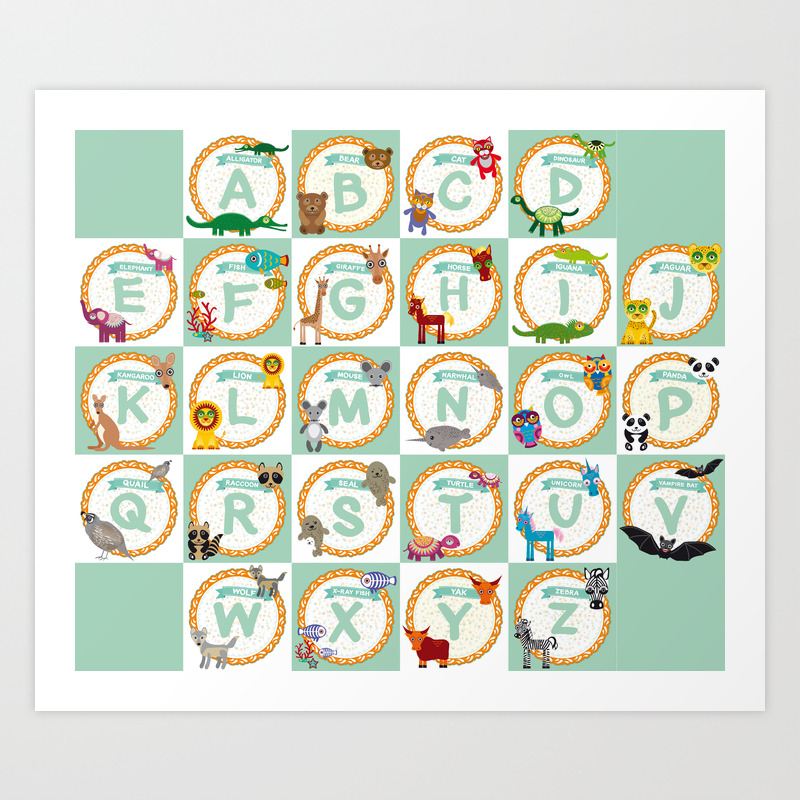 Abc Alphabet For Kids From A To Z Set Of Funny Cartoon Animals Character Zoo Art Print By Ekaterinap Society6