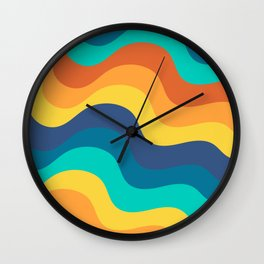 Retro Mid-Century Color Wave Ripples Stripes Wall Clock