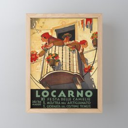 cartel locarno xi festa dele camelie Framed Mini Art Print