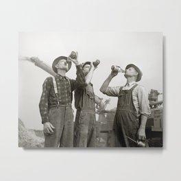 Farmers Drinking Beer, 1941. Vintage Photo Metal Print