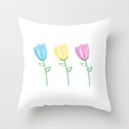 Bristle Brush Tulips Throw Pillow
