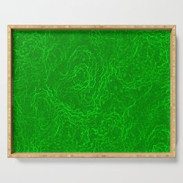Neon Green Alien DNA Plasma Swirl Serving Tray