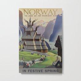 Norway in festive spring Vintage Travel Poster Metal Print