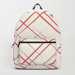 Red Stripes Grid Pattern Backpack