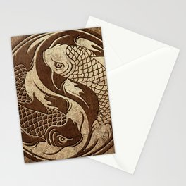 Yin Yang Koi Fish with Rough Texture Effect Stationery Cards