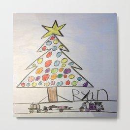 Christmas Tree Train Metal Print