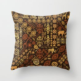 Ethnic African Pattern- browns and golds #12 Throw Pillow