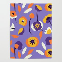 Abstract Dancing Poppies Poster