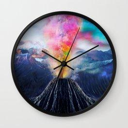 Rainbow Volcano Wall Clock
