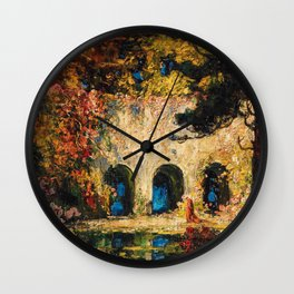 Romantic Parisian Floral Enchanted Garden Scene, Solitary Thoughts by Thomas Edwin Mostyn Wall Clock