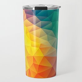 Abstract Polygon Multi Color Cubism Low Poly Triangle Design Travel Mug