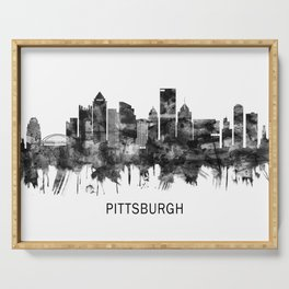 Pittsburgh Pennsylvania Skyline BW Serving Tray