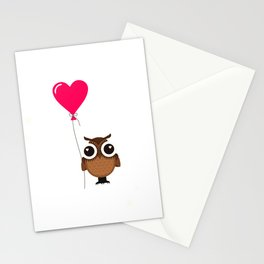 Carpe Noctem Seize the Night Cute Owl with Heart Balloon Night Owl Stationery Cards