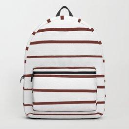 Pantone Burnt Henna Red 19-1540 Hand Drawn Horizontal Lines on White Backpack