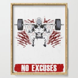 Shut Up And Squat: No Excuses Funny Gym Lifting Serving Tray