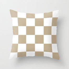 Large Checkered - White and Khaki Brown Throw Pillow