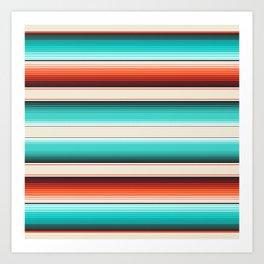 Navajo White, Turquoise and Burnt Orange Southwest Serape Blanket Stripes Art Print