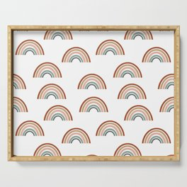 Rainbow pattern muted colorful perfect kids room decor Serving Tray