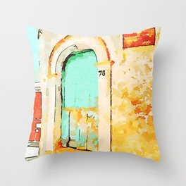 Old green door  Throw Pillow