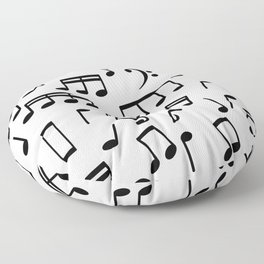 Dancing Black Music Notes on White Background Floor Pillow