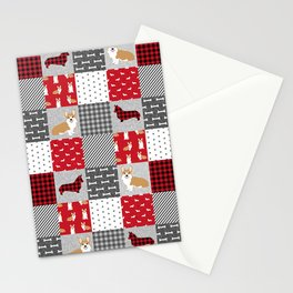 Corgi Patchwork Print - red, dog, buffalo plaid, plaid, mens corgi dog Stationery Cards