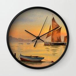 Thames Barge At Sunset Wall Clock