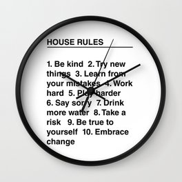 House Rules Wall Clock