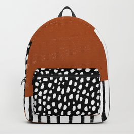 Polka Dots and Stripes Pattern (black/white/burnt orange) Backpack