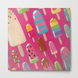 A Rainbow of Popsicles on Magenta Metal Print