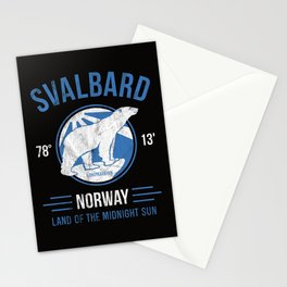 Svalbard Arctic Polar Bear - Midnight Sun in Longyearbyen Norway Stationery Cards