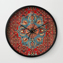 Bidjar Antique Kurdish Northwest Persian Rug Print Wall Clock