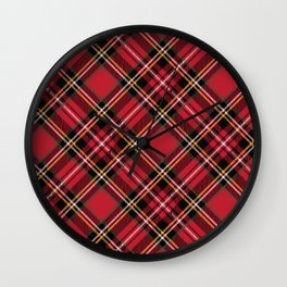 Christmas plaid fabric. Vintage checkered red and brown fabric texture Wall Clock