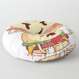 Leberkaese vs. Burger saying Floor Pillow