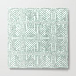 Nappy Faux Velvet Framed Wicker Repeat in Green Metal Print