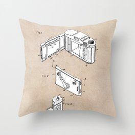 patent art Frye Roll film camera 1950 Throw Pillow