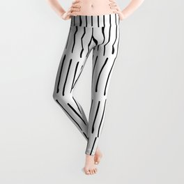 Boho Wall Art, Black and White, Line Art Leggings