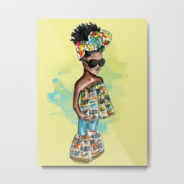 She Ready Yellow Background Metal Print