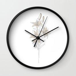 Lily Line Art II Wall Clock