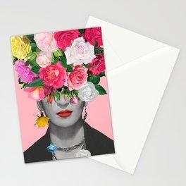 Frida Floral Poster - Modern Art Print- Pink - Housewarming Birthday Gift Idea - Home Decor - Wall Art Poster Print  Stationery Cards
