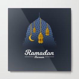 Ramadan Kareem with Crescent Moon and Lantern on The Geometry Background Metal Print