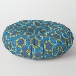 Blue Yellow Honeycomb Hexagonal Pattern Floor Pillow