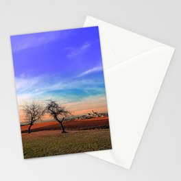 Trees, sunset, clouds, panorama and village   landscape photography Stationery Cards