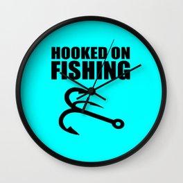 Hooked on fishing sports logo Wall Clock