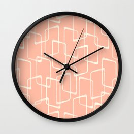Mid Century Blush Geometric Pattern Wall Clock