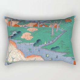 Temple Gardens Nippori Ukiyo-e Japanese Art Rectangular Pillow