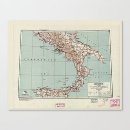 Southern Italy World War II Strategic Map (1943) Canvas Print