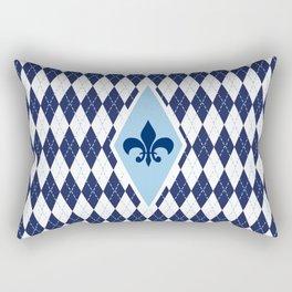Argyle Fleur de Lis Print Rectangular Pillow